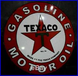Porcelain Texaco Motor Oil Enamel Sign Size 36 ROUND Double Sided