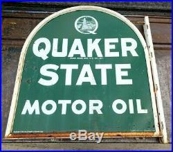 Quaker State Motor Oil Sign with original flange frame
