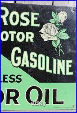 RARE 1910's ANTIQUE WHITE ROSE MOTOR OIL GASOLINE (9.75 X 13.75 INCH) TIN SIGN
