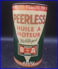 RARE 1930's VINTAGE B/A PEERLESS MOTOR OIL IMPERIAL QUART CAN BRITISH AMERICAN