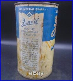 RARE 1930's VINTAGE ZENOIL MOTOR OIL IMPERIAL QUART CAN WINNIPEG, MAN