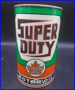 RARE 1940's VINTAGE SUPERTEST SUPER DUTY MOTOR OIL IMPERIAL QUART CAN