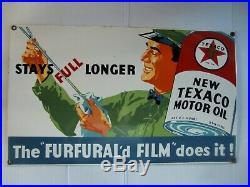 RARE ORIGINAL Metal 1936 Texaco Motor Oil Sign The FURFURALd FILM does it