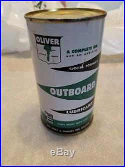RARE Oliver Outboard Motor Oil Can Boat Farm Gas Vintage Old Original Sign White