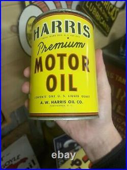 RARE Original Harris Oil Can Metal Motor Oil Can Gas Sign Unopened & FULL
