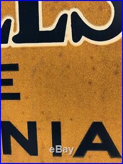 RARE Vintage 1932 PENN HILLS Pennsylvania PA Motor Oil Smaltz Glass Metal Sign
