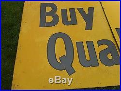 RARE Vintage ORIGINAL 3-Piece Tin QUAKER STATE MOTOR OIL 12' ADVERTISING SIGN