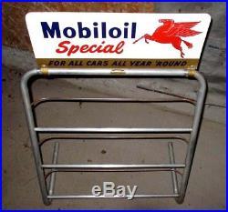 RARE Vintage1954 Mobiloil Motor Oil Gas Station Quart Can Rack Display