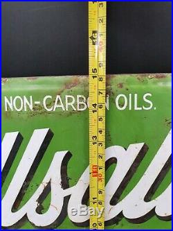RARE Wellsaline Motor Oil Enamel Sign Vintage Automobilia Garage Petroliana