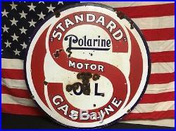 Rare! 1920s Standard Polarine Motor Oil Gasoline Double Sided Porcelain Sign