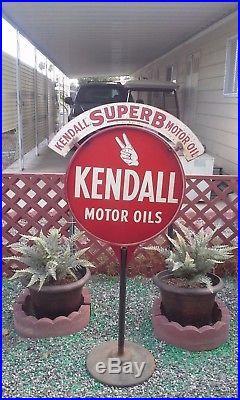 Rare 1930 Kendall Motor Oil Sidewalk Sign W / Steel Header. Look