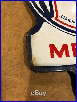 Rare 1930's Standard Oil medium motor oil porcelain double sided paddle sign