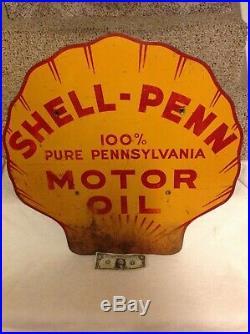 Rare 1935 Shell-Penn Motor Oil Original Steel Not Porcelain Sign Marked Stout