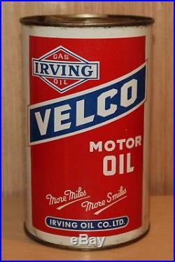 Rare 1940's Vintage Irving Velco Motor Oil Imper Quart Can