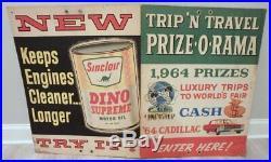 Rare 1964 New York Worlds Fair Sinclair Dino Supreme Motor Oil Prize-o-rama Sign