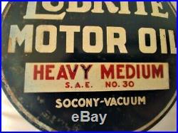 Rare 2-Sided Socony-Vacuum Lubrite Motor Oil Heavy Medium Lubester Paddle Sign