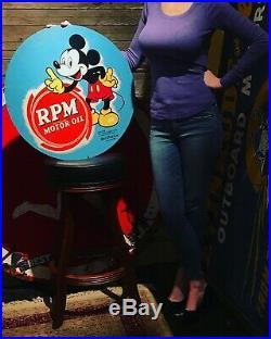 Rare 23.75 Original 1939 RPM Motor Oil Sign Mickey Walt Disney Tin