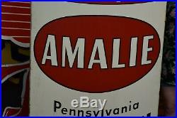 Rare 5' Original 50s Amalie Pennsylvania Motor Oil CAN Gas Auto Sign Wood framed