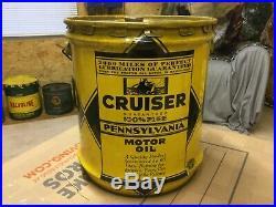 Rare Cruiser Sae 40 Motor Oil 5 Gallon 2000 Mile Battleship Butler Pa Can Sign