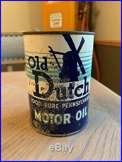 Rare Dutch Motor Oil Can MI Michigan One 1 QT Quart Sign Advertising Gas Station