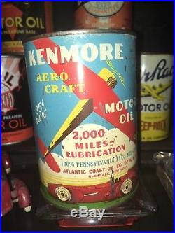 Rare Metal Graphic Kenmore Aero Craft Quart Motor Oil Can Original Plane Sign