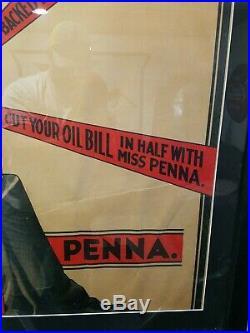 Rare Original Miss Penna 2 gallon motor Oil Advertising Paper Poster Sign
