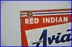 Rare Red Indian Aviation Motor Oil Rack Double sided Porcelain Sign 12 x 14