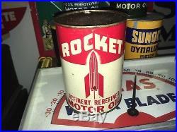 Rare Rocket Metal Graphic Quart Motor Oil Can Original Gas Station Plane Sign
