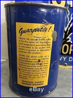 Rare Skunk Oil Motor Oil Original Metal Quart Can Vintage