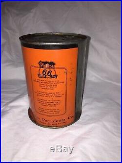 Rare Vtg Early Logo Phillips 66 Orange and Black 1QT Tin Motor Oil Can GC Empty