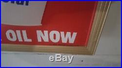 Rare embossed DX Motor Oil Gas Pump Garage Shop Station lighted Sign. 1967 date