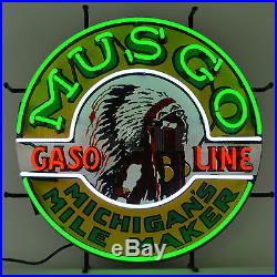 Real Neon Sign Musgo Indian Gasoline gas and motor oil globe pump wall lamp