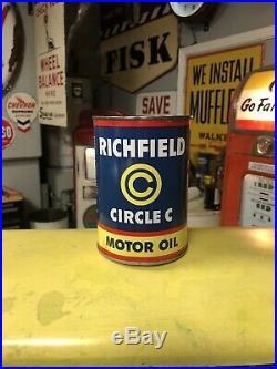 Richfield Circle C Motor Oil Quart Can, Both Lids, Empty