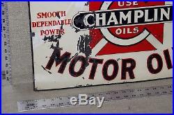 SCARCE 1930's CHAMPLIN MOTOR OIL EMBOSSED METAL SIGN DEALER SERVICE GAS OIL 66