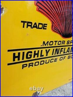 SHELL PETROLEUM MOTOR SPIRIT shell enamel sign oil vitreous advertising VAC160