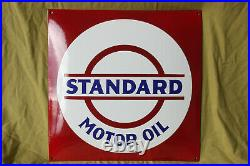 STANDARD MOTOR OIL Schild Enamel sign Emailschild Emaille 50 x 50