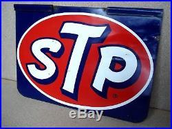STP MOTOR OIL GAS STATION 2 SIDED 15 x 10 METAL SIGN VINTAGE 1960'S