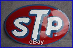 STP Motor Oil Schild Enamel sign Emailschild ECHTE Emaille Emblem 33 x 50 cm