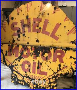 Shell Gas Station 72 X 72 Large 2 Piece Porcelain Motor Oil Sign