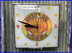 Shell Motor Oil Clock, Gas Station Lighted Pam Clock, Vintage Advertising Sign