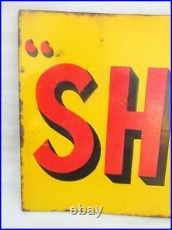 Shell Motor Oil Gas Station 1930's Original Old Rare Enamel Porcelain Sign Board