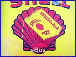 Shell Motor Oil Gas Station Enamel Porcelain Sign Board 1930's Original Old Rare