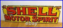 Shell motor oil spirits enamel sign advertising decor mancave garage metal vinta