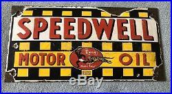 Stunning Speedwell Motor Oil Rectangular Porcelain Enamel Dealership/Garage Sign