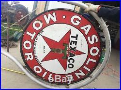 TEXACO 1930s Gasoline Motor Oil Station 2 Sided Porcelain Sign 42 Pole Vintage