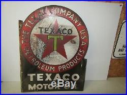 TEXACO 1930s Motor Oil The Texas Co, Dbl Sided 18 x 22 Porcelain Oil Sign