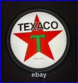 TEXACO Motor Oil LED BLACK Bar Lighting Wall Sign Light Button Man Cave Gift