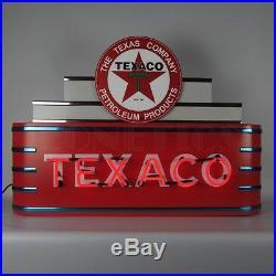 Texaco Gasoline & Motor Oil Neon Sign Gas Metal Steel Can Art Deco Marquee