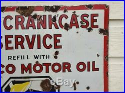 Texaco Motor Oil Sign Porcelain Free Crankcase Service Texaco Oil Sign 30 X 30