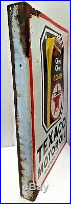Texaco Motor Oil Vintage Porcelain Enamel Sign Made In U. S. A Double Sided Rare